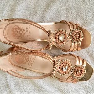 NEW rose gold heeled sandals